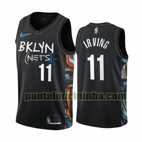 Canotta Uomo basket Kyrie Irving 11 Brooklyn Nets Nero 2020 2021
