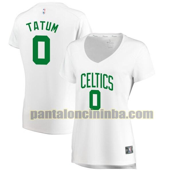 Maglia Donna basket Jayson Tatum 0 Boston Celtics Bianco association edition