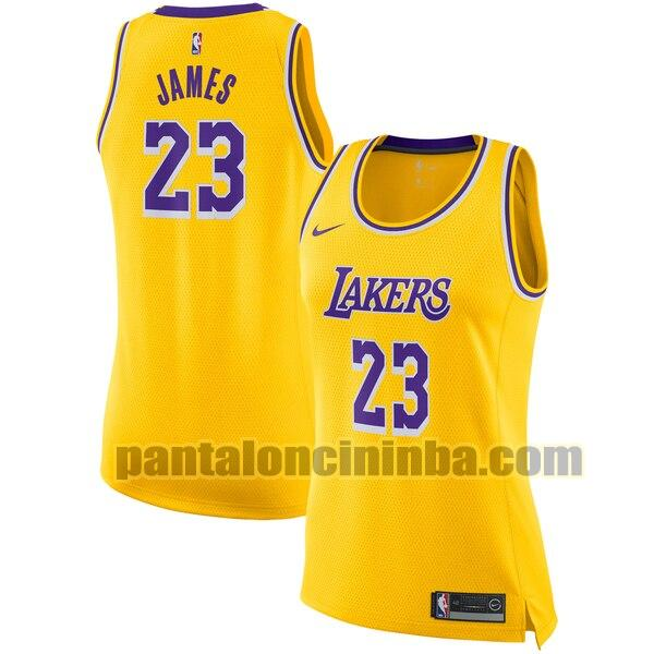 Maglia Donna basket LeBron James 23 Los Angeles Lakers Giallo Nike icon edition