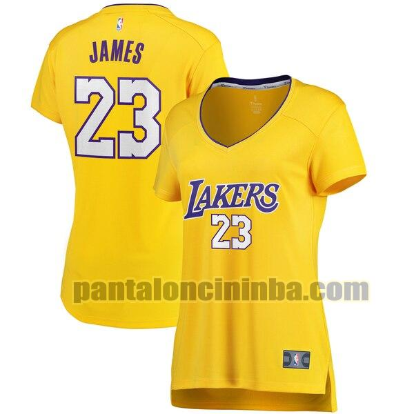 Maglia Donna basket LeBron James 23 Los Angeles Lakers Giallo icon edition