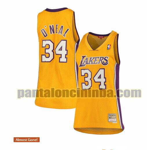 Maglia Donna basket Shaquille O'Neal 34 Los Angeles Lakers Giallo hardwood classics