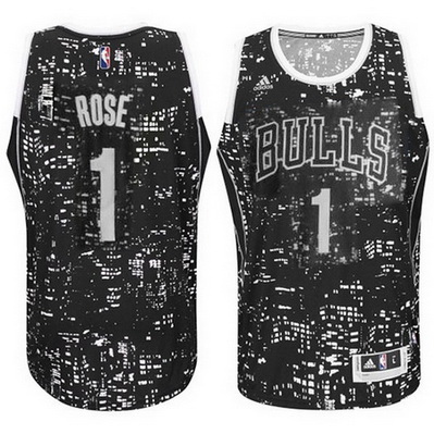 canotte basket uomo chicago bulls derrick rose 1 lights nero