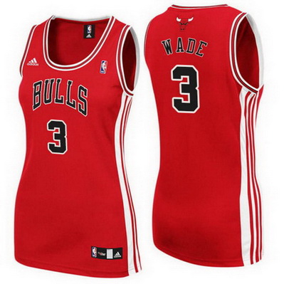 canotta nba donna chicago bulls dwyane wade 3 rosso