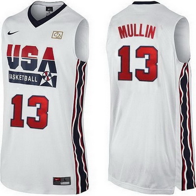 maglie basket chris mullin 13 nba usa 1992 bianca