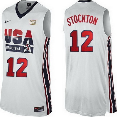 canotta basket john stockton 12 nba usa 1992 bianca