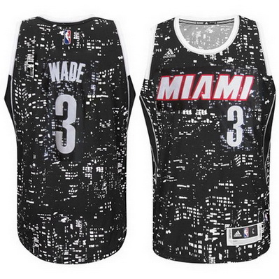 canotta uomo basket miami heat dwyane wade 3 lights nero