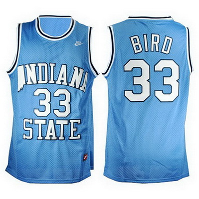 canotta uomo basket ncaa indiana state larry bird 33 blu