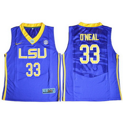maglie uomo ncaa louisiana state university shaquille o'neal 33 blu
