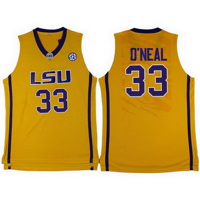 maglie ncaa louisiana state university shaquille o'neal 33 giallo