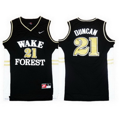 maglie basket ncaa wake forest demon deacons tim duncan 21 nero