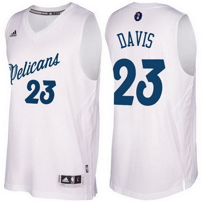 maglie new orleans pelicans natale 2016 anthony davis 23 bianca