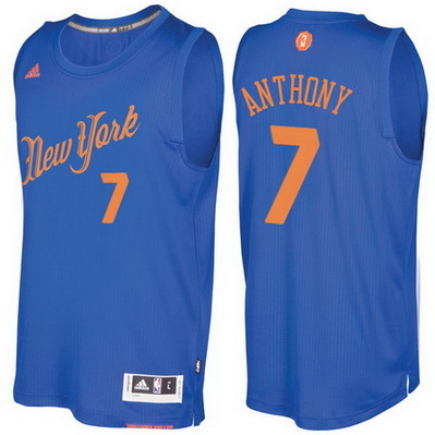 maglie uomo new york knicks natale 2016 carmelo anthony 7 blu