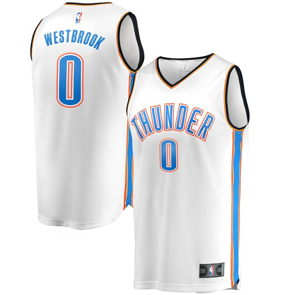 maglia russell westbrook 0 2020 oklahoma city thunder bianca