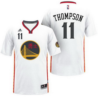 maglietta klay thompson 11 2017 golden state warriors cina bianca