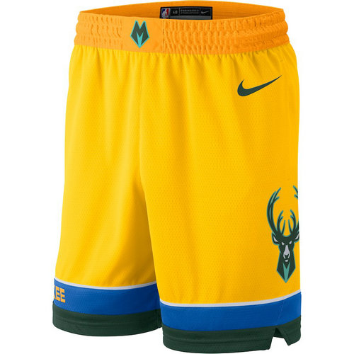 Pantaloncini corti basket Milwaukee Bucks 2018-2019 giallo