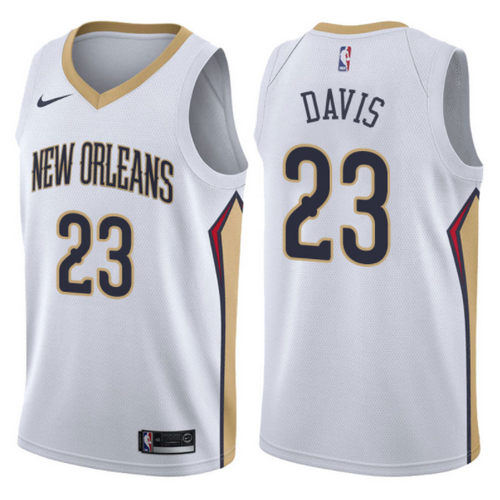 maglia anthony davis 23 2017-2018 new orleans pelicans bianca