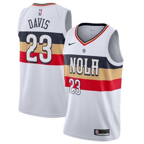 maglia anthony davis 23 2018-2019 new orleans pelicans bianca