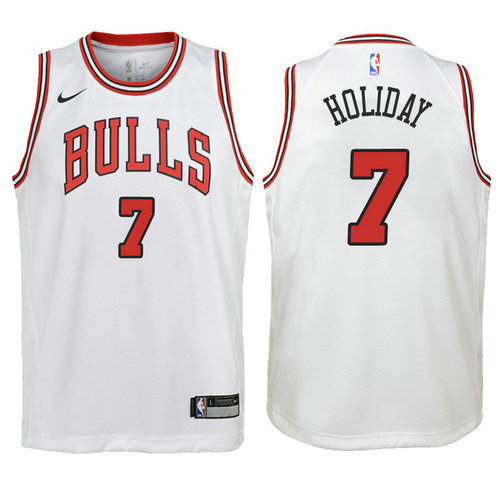 canotta basket chicago bulls bambino 2017-2018 justin holiday 7 bianca