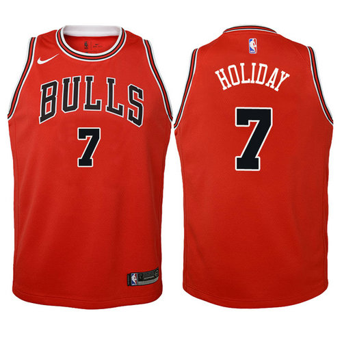 canotta basket chicago bulls bambino 2017-2018 justin holiday 7 rosso