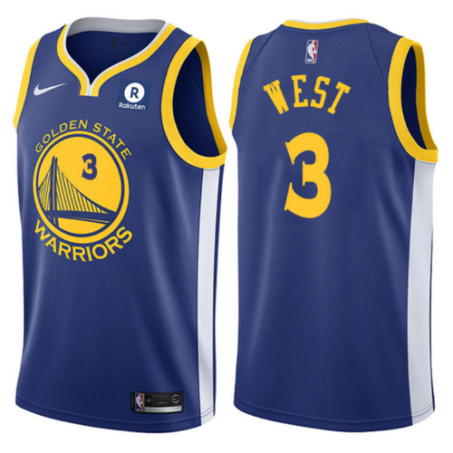 maglia davi west 3 2017-2018 golden state warriors blu