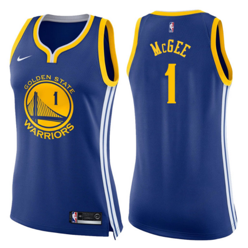 maglie basketa donne JaVale McGee 1 2017-2018 golden state warriors blu