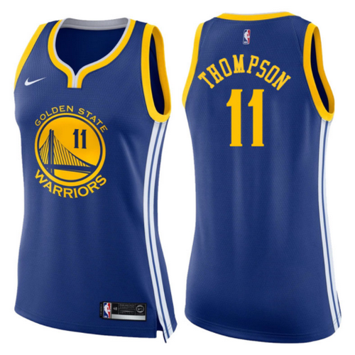 maglie basketa donne klay thompson 11 2017-2018 golden state warriors blu