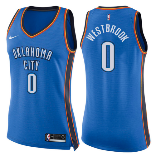 canotte basket donne russell westbrook 0 2017-2018 oklahoma city thunder blu