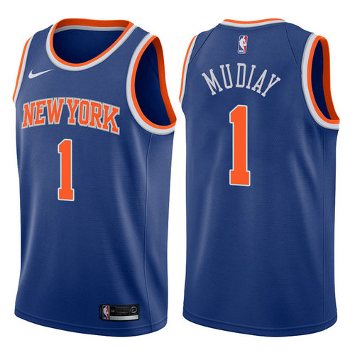 canotta basket emmanuel mudiay 1 2017-2018 new york knicks blu