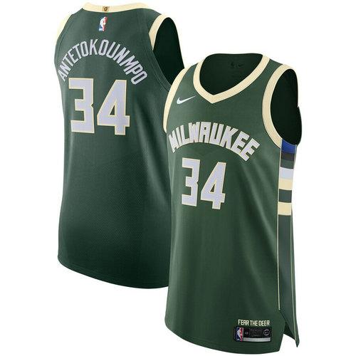 Maglia giannis antetokounmpo 34 2019 Milwaukee Bucks Verde