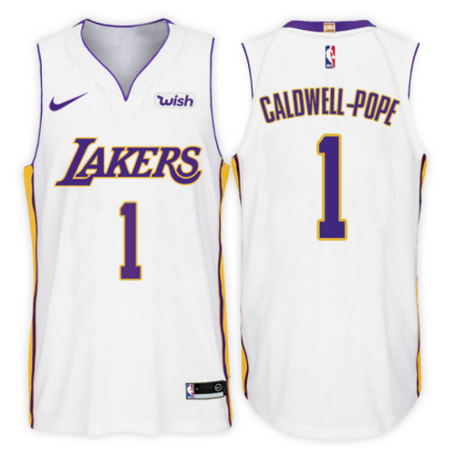 maglia kentavious caldwell pope 1 2017-2018 los angeles lakers bianca
