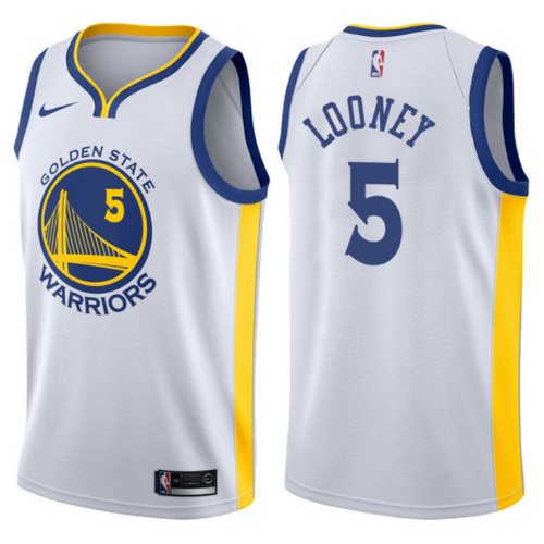maglia nba kevon looney 5 2017-2018 golden state warriors bianca