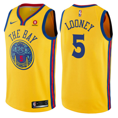 maglia nba kevon looney 5 2017-2018 golden state warriors d'oro