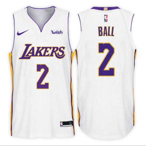 maglia lonzo ball 2 2017-2018 los angeles lakers bianca