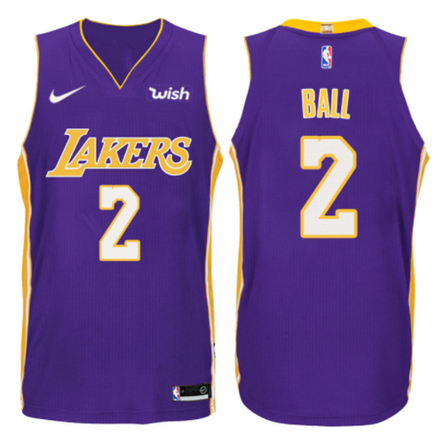 maglia lonzo ball 2 2017-2018 los angeles lakers porpora