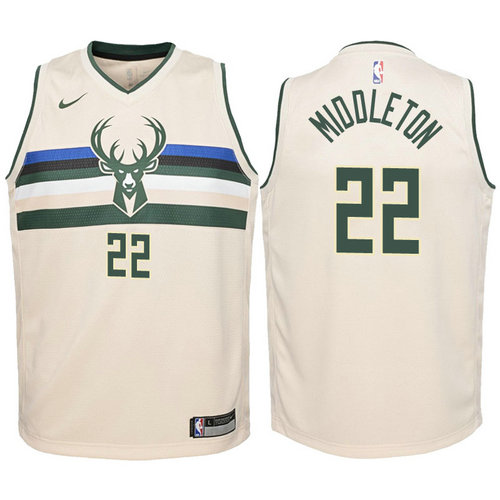 canotta milwaukee bucks bambino 2017-2018 khris middleton 22 giallo