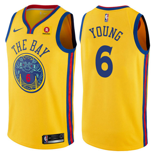 maglia nba nick young 6 2017-2018 golden state warriors d'oro