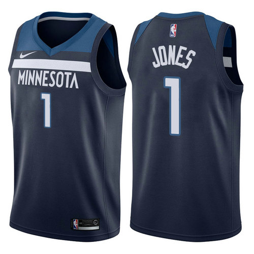 maglia tyus jones 1 2017-2018 minnesota timberwolves navy