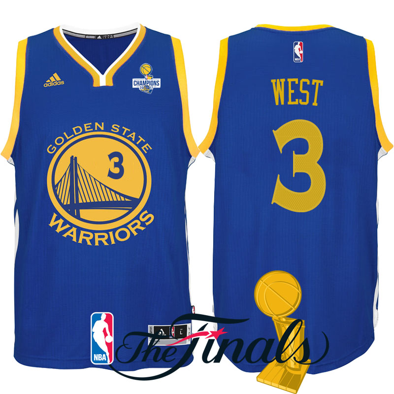 maglia david west 3 finale campioni 2017 golden state warriors blu