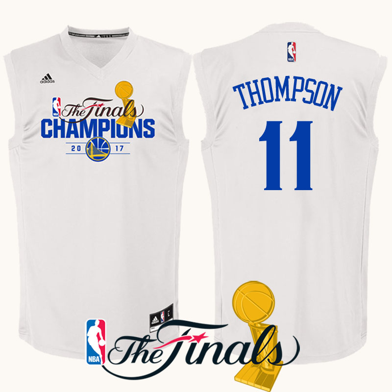 maglia klay thompson 11 finale campioni 2017 golden state warriors bianca
