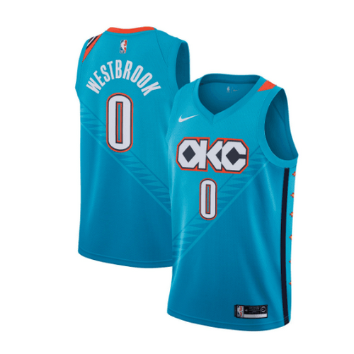maglia russell westbrook 0 2018-2019 oklahoma city thunder verde
