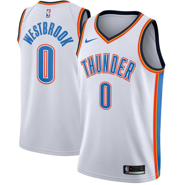 maglia russell westbrook 0 2019 oklahoma city thunder Bianca